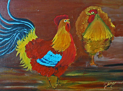 Painting - Rooster And Hen by Dina Jacobs