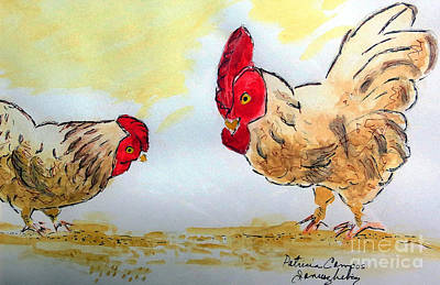 Painting - Rooster And Hen by Patricia Januszkiewicz