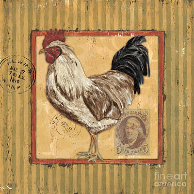 Rooster And Stripes Print by Debbie DeWitt