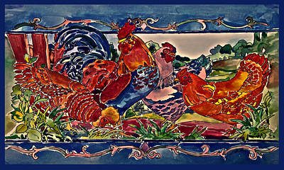Stained Glass Rooster Painting - Rooster And Three Hens by Dennis Weiser