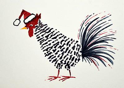 Rosedahl Painting - Rooster Christmas by Sarah Rosedahl