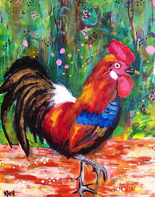 Painting - Rooster Closeup by Kim Heil