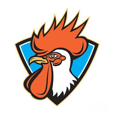 Poultry Digital Art - Rooster Cockerel Head Crest by Aloysius Patrimonio