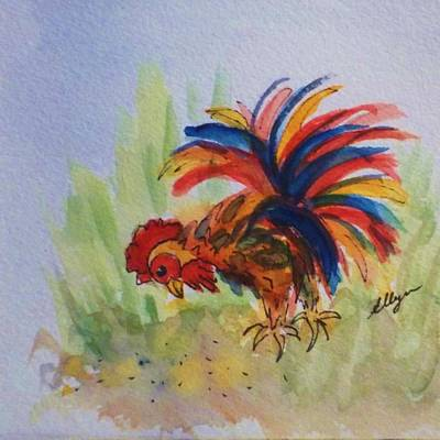 Painting - Rooster - Colorful Barnyard Boss by Ellen Levinson