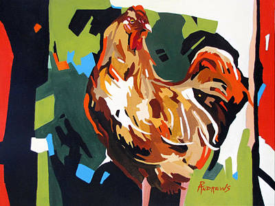 Rooster Design In Acrylic Art Print by Rae Andrews