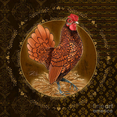 Rooster Golden Art Print