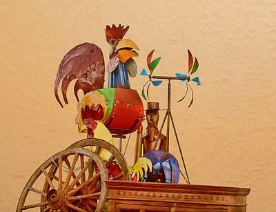 Whirly Photograph - Rooster Hen And Friend by Linda Phelps