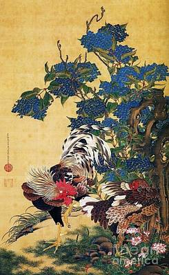 Japanese Silk Painting - Rooster - Hen - Hydrangeas by Pg Reproductions