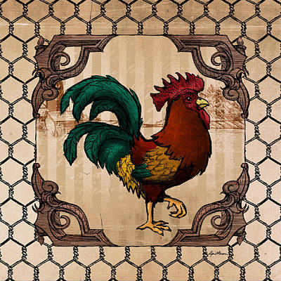 Birds Digital Art Rights Managed Images - Rooster I Royalty-Free Image by April Moen