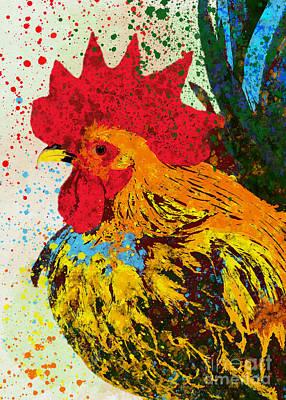 Gouache Mixed Media - Rooster  by Olga Hamilton