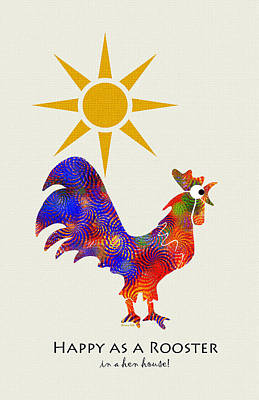 Rural Scenes Mixed Media - Rooster Pattern Art by Christina Rollo