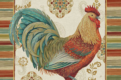 Medallion Painting - Rooster Rainbow IIia by Daphne Brissonnet