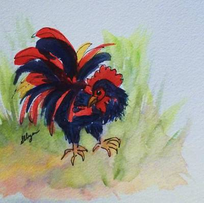 Painting - Rooster - Red And Black Rooster by Ellen Levinson