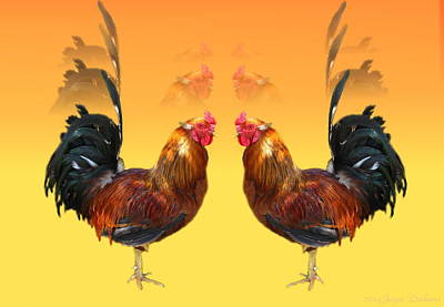 Friendly Digital Art - Rooster Standoff Two by Joyce Dickens