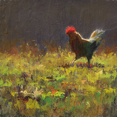Abstraction Painting - Rooster Strut by Karen Whitworth