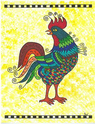 Art Print featuring the painting Rooster Strutting His Stuff by Susie Weber