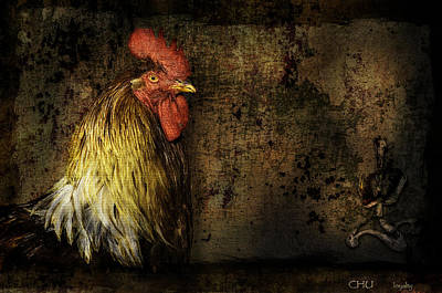 Art Print featuring the mixed media Rooster With Brush Calligraphy Loyalty by Peter v Quenter