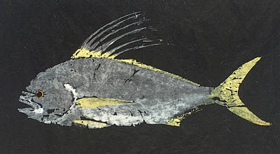 Gyotaku Painting - Gyotaku Roosterfish by Captain Warren Sellers