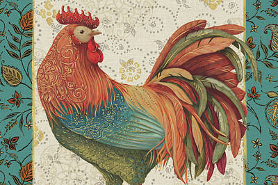 Medallion Painting - Rooster_spice_i_ii_iii_iva by Daphne Brissonnet