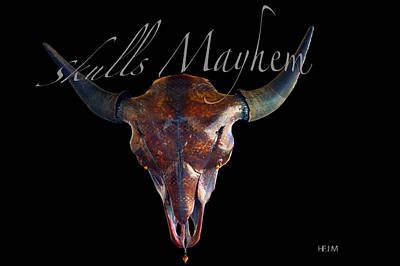 Mixed Media - Root Beer Brown And Silver Illuminating Buffalo Skull by Mayhem Mediums