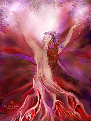 Mixed Media - Root Chakra Goddess by Carol Cavalaris