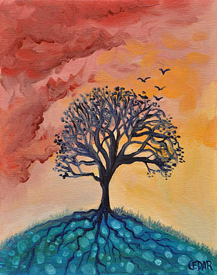 Tree Roots Painting - Roots And Wings by Cedar Lee