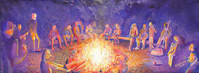 Painting - Roots Retreat Campfire Jam by David Sockrider
