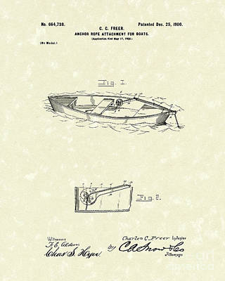 Boat Drawing - Rope Attachment 1900 Patent Art by Prior Art Design
