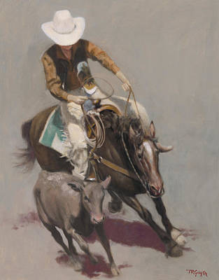 Roping Painting - Roper Salinas Rodeo by Terry Guyer
