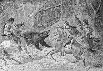 Horseman Drawing - Roping A Grizzly, Illustration From Harpers Weekly, 1874, From The Pageant Of America, Vol.3 by Felix Octavius Carr Darley