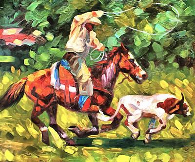 Working Cowboy Painting - Roping A Runaway by Studio Artist