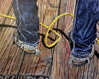 Roping Boots Art Print by Marilyn  McNish