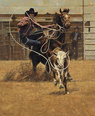 Lassoing Painting - Rodeo Roping Young Steer by Don  Langeneckert
