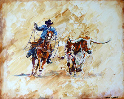 Roping The Doggie Art Print by P Maure Bausch