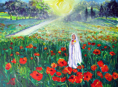 Painting - Rosa Mistica With Poppies by Sarah Hornsby