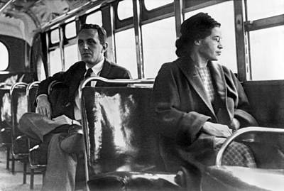 Discrimination Photograph - Rosa Parks On Bus by Underwood Archives