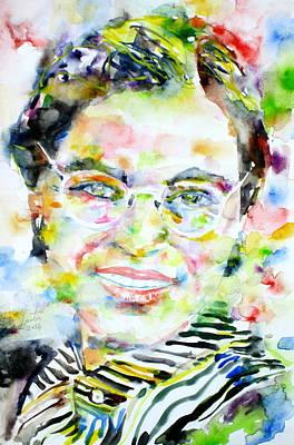 Rosa Parks Painting - Rosa Parks - Watercolor Portrait by Fabrizio Cassetta