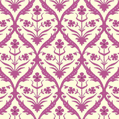 Damask Drawing - Rosa Trellis Ikat by Sharon Turner