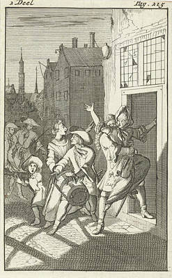 Caspar Drawing - Rosamire Kidnapped By Clitander, Caspar Luyken by Caspar Luyken And Pieter Van Rijschooten