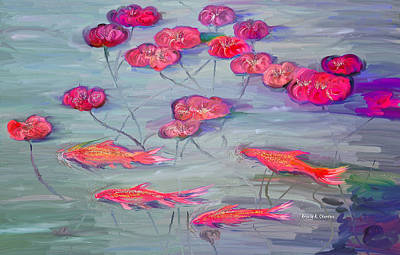 Lilly Pond Painting - Rosanne's Goldfish And Water Lilly Pond by Angela A Stanton