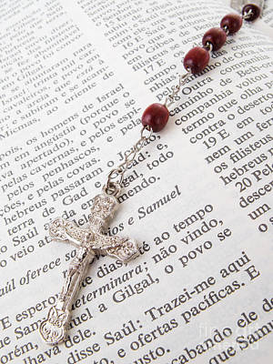 Jesus Photograph - Rosary Over An Old Holy Bible by Jose Elias - Sofia Pereira