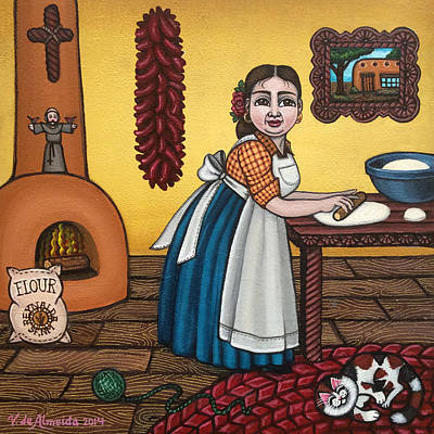 Folk Art Painting - Rosas Kitchen by Victoria De Almeida
