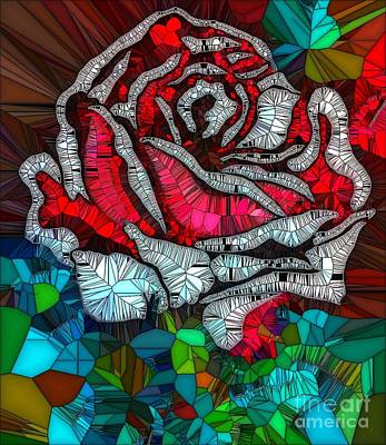 Painting - Rose Abstract Mosaic by Saundra Myles