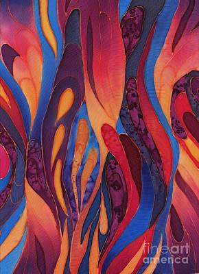 Red Abstract Painting - Rose And Blue Silk Design 2 by Sharon Freeman