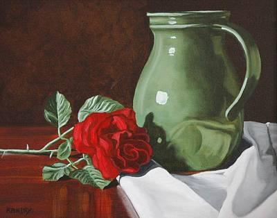 Rose And Green Jug Still Life Art Print by Daniel Kansky