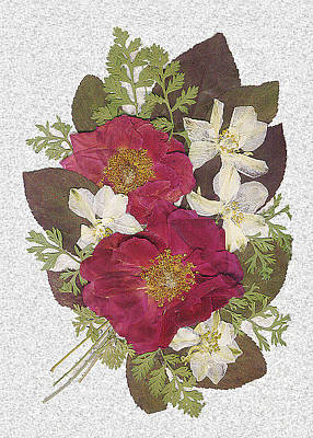 Garden Scene Mixed Media - Rose And Larkspur Bouquet by Anne Post
