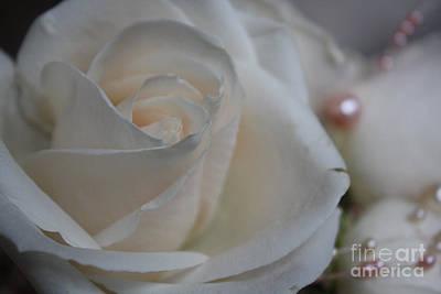 Rose And Pearls Art Print by Nancy TeWinkel Lauren