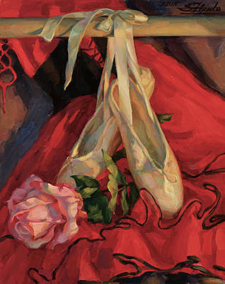 Painting - Rose And Pointe Shoes by Serguei Zlenko