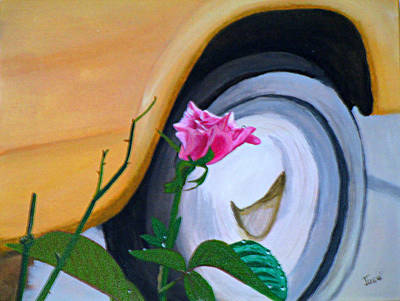 Art Print featuring the painting Rose At The Curb by Hilda and Jose Garrancho