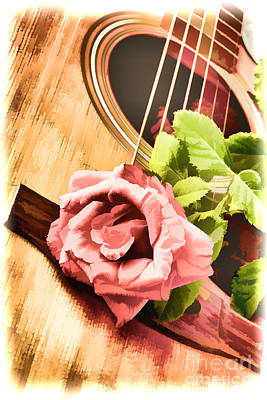 Painting - Rose Bloom Flower On Guitar Painting In Color 3261.02 by M K Miller